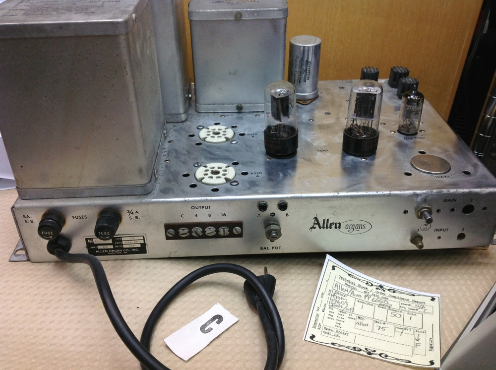 Amplifiers :: vintage Allen Co  6550 Tube Acro Acrosound output Amp